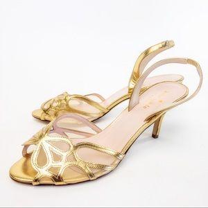Kate Spade Sarita Gold Slingback Heels Sz 8.5B